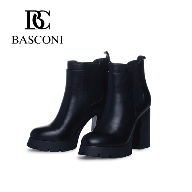 Free shipping basconi autumn-winter round head thick high-heeled black  leather Leather lining Ankle boots 183c5788dd5d