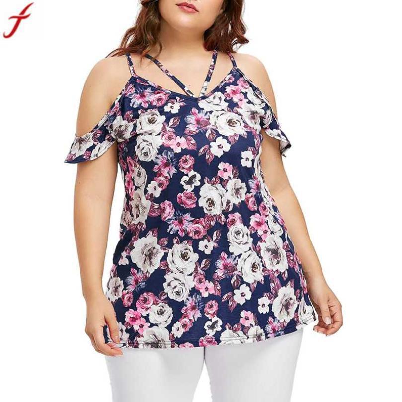 Plus size blusas feminina 2018 fashion womens flower print cold shoulder tunic shirt summer short sleeve tops camisetas mujer#4