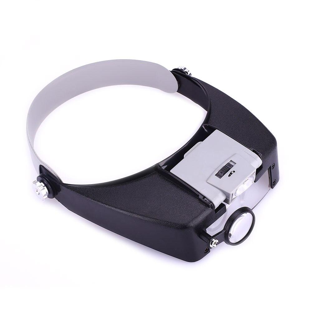 Объектив автоматический увеличительное стекло 2LED Свет Лупа на голову гарнитура - Цвет: Gray battery case