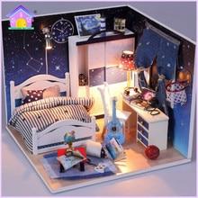 Hoomeda bricolage poupée maison miniatures en bois jouets M008 ciel étoilé moveis casa de boneca pour les enfants cadeau