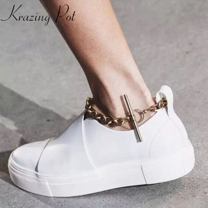 2019 autumn style fashion chain brand flat with sneaker platform round toe increased sexy metal wholesale