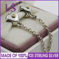 LS Hochwertigem Echt 925 Silber Gold Farbe Herz Krone Sicherheitskette Fit Original bracelete Charme Pulseira Edlen Schmuck