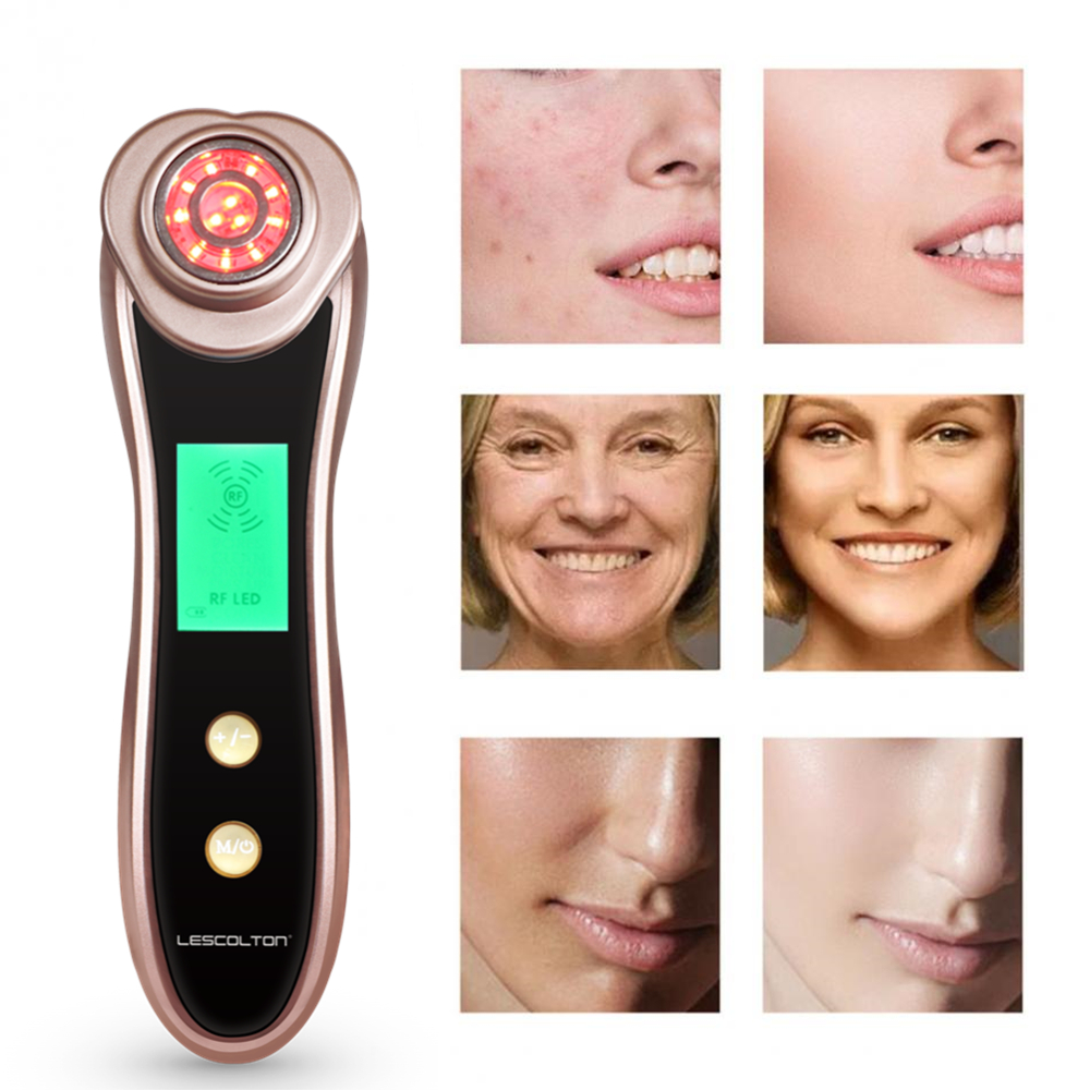 Ultrasonic RF Beauty Equipment EMS Microcurrent Face Lift Skin Care Cleansing LED Light Vibration Home RF Beauty Device Machine ckeyin ultrasonic vibration beauty instrument face lift skin tightening facial deep cleansing skin care cosmetic device machine