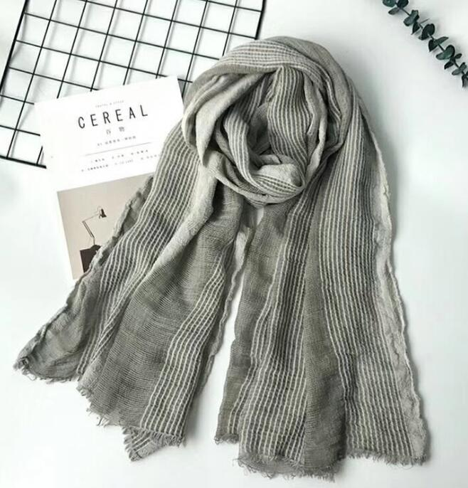 2019 Superbig Japanese Style Winter Scarf Cotton And Linen Striped Plaid Bubble long women s scarves