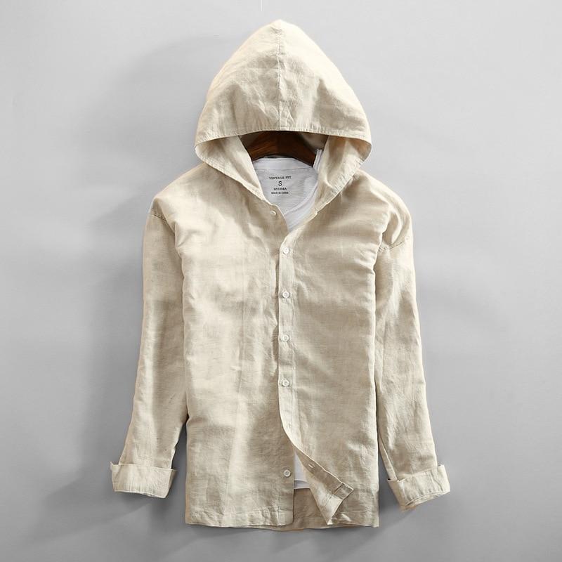 2019 New Linen Jacket Men Thin Leisure Jacket Hooded Shirt Men Jackets Casual Streetwear Breath Mens Jacket Nature Linen Shirts