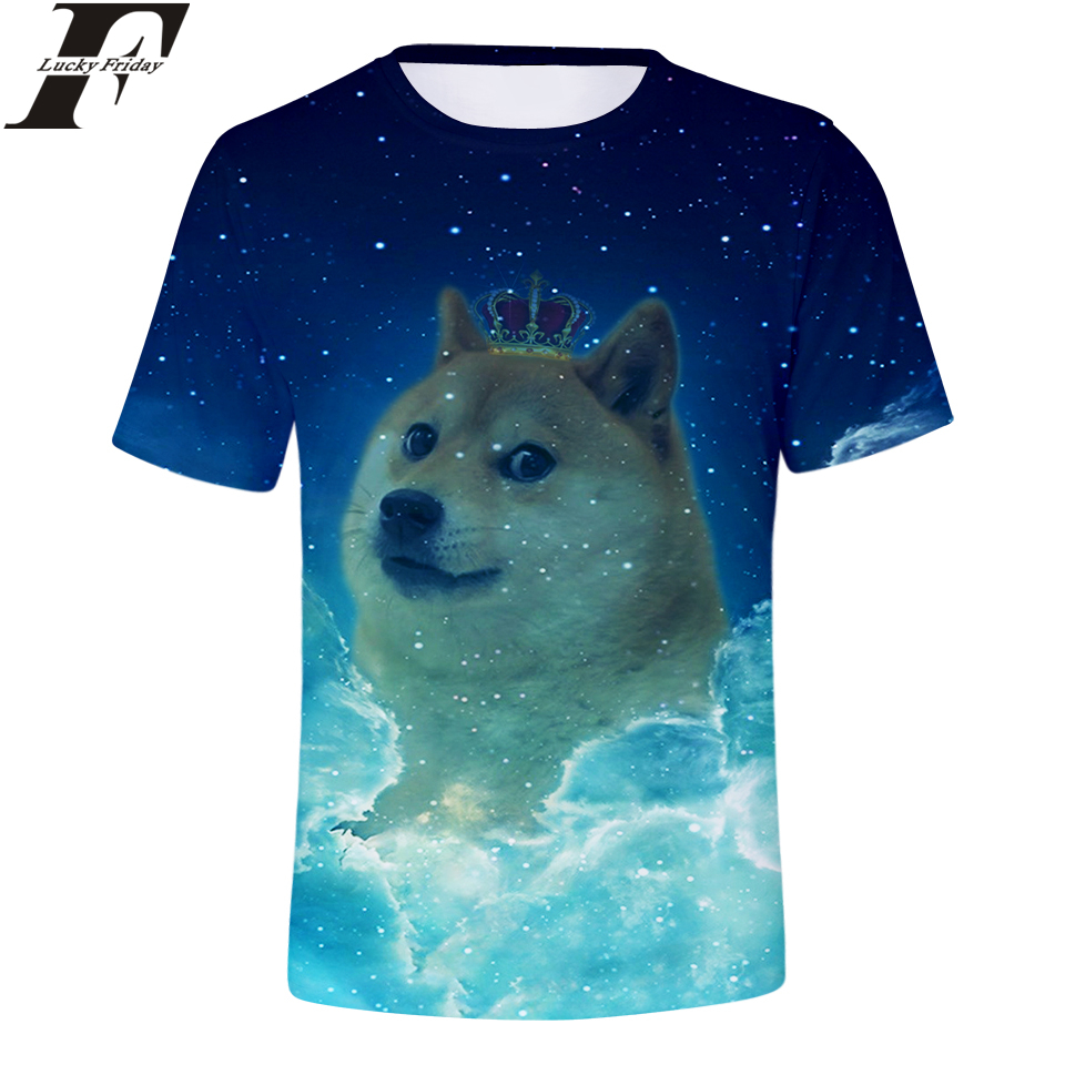 Corona Corta Impresión Camisetas Emoticon Doge Manga Hombres 3d zLVGjqSUpM
