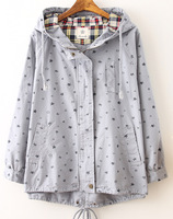 Getting out of autumn/winter 2015 Japanese sen small pure and fresh and contracted printing hooded trench coat preppy style