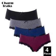 Charmleaks Women Underwear Hipster 4 Packs Cotton Panties Soft Strech comfort solid Ladies Bow tie Mid-waist Hot Sale