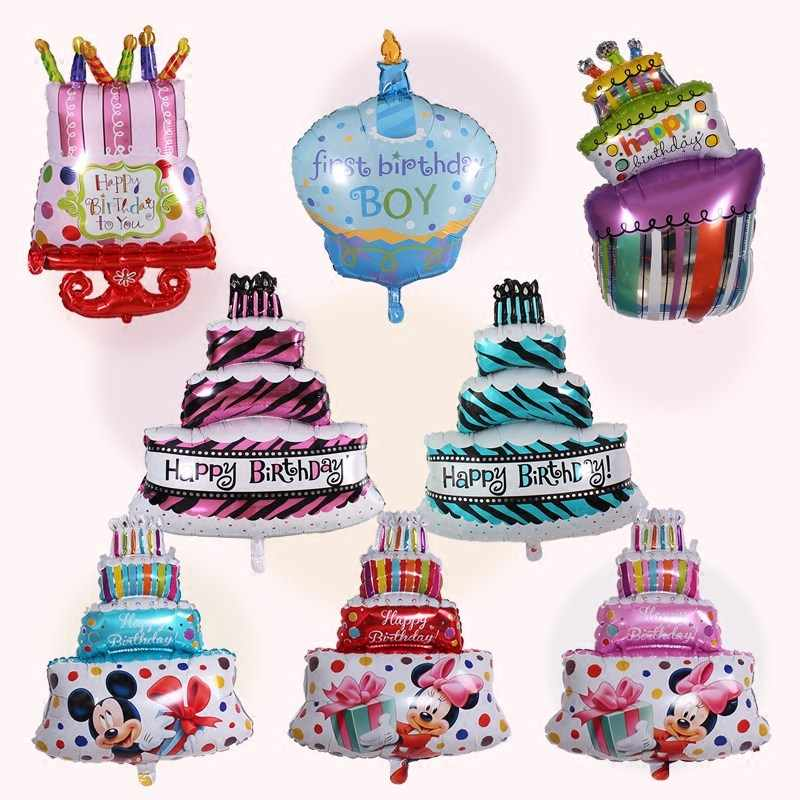 Detail Feedback Questions About 1pc Happy Birthday Cake Foil Balloons Big Princess Prince Crown Balloon Star Decor Baby Shower Boy Girl Party