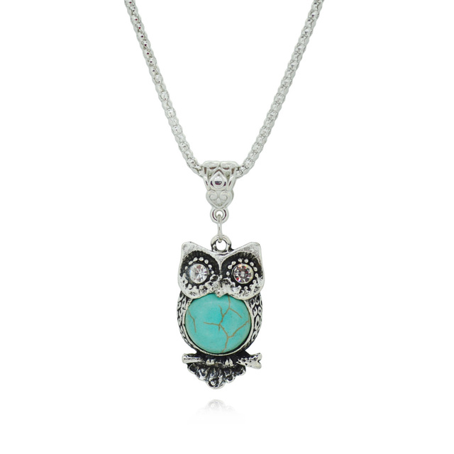 Vintage Owl Silver Turquoise Pendant