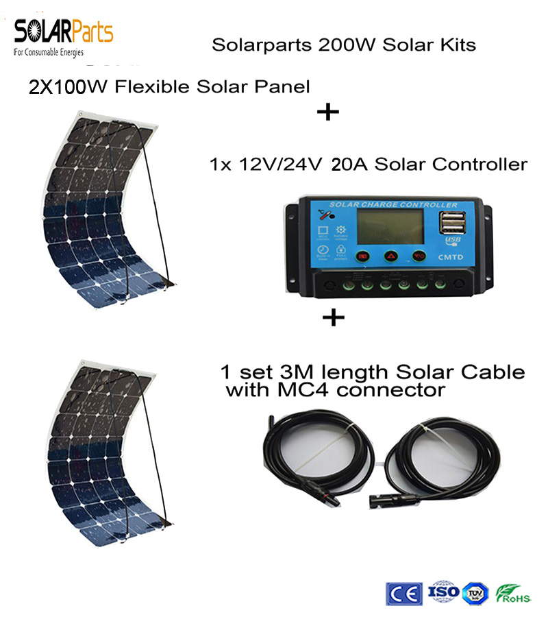 Solarparts 200W DIY RV Boat Kits Solar System 2 x100W PV flexible solar panel 12V 1