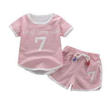 Baby Boy Clothing Set Summer Short Sleeve O-Neck Striped Cartoon Cotton T-Shirt+Shorts 2 PCS Children Sports Casual