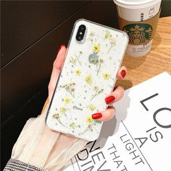 Vraie Fleur Sèche Paillettes Clair Pour iPhone 8 7 plus 6 6s Époxy Étoile Transparent Pour iPhone X XR 11 Pro XS MAX Couverture Souple 2