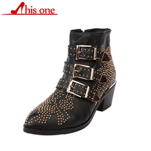 Fashion Luxury Brand Woman Buckle Strap Rivet Studs Leather/Short Plush Ankle Boots Women Spiked Chunky Heels Motorcycle Boots