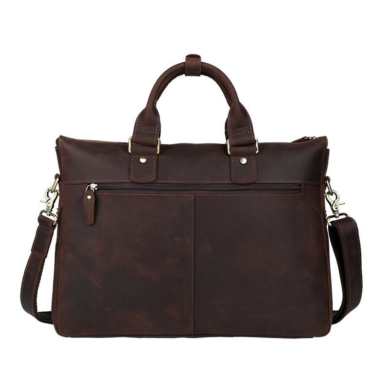 Famous Brand Men Briefcase Genuine Leather Messenger Shoulder Bag Vintage Document Tote Real Cowhide Bolsa Designer Laptop Bags