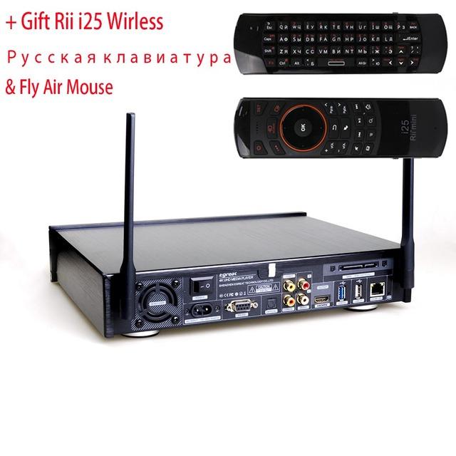 Egreat A10 4 K UHD Hi3798CV200 Media Player 2G/16G AC WIFI Gigabit LAN HDR10 ÁTOMOS de Blu-ray 3D Dolby DTS + Rii i25 Teclado Ruso