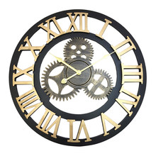 American Industrial Gear Bar Cafe Vintage Wall Clock Modern Design Kitchen Large Decorative Clocks Wall Home Decor 50Q019(China)
