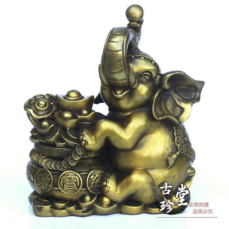 China Copper Brass bronze Elephant Money Wealth Rich Coin Yuanbao statue