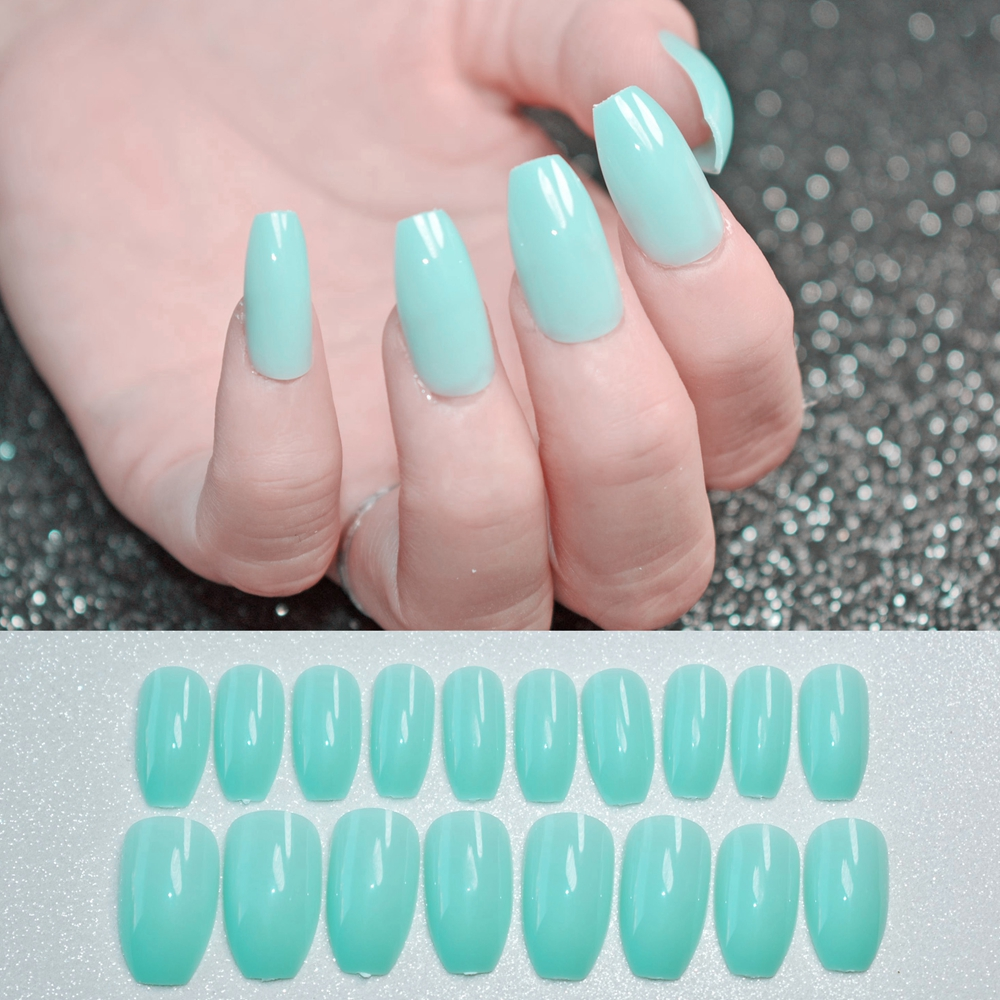 Shiny Coffin Design Nails Art Tips Mint Green Flat Stiletto Full ...