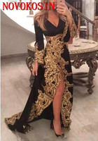 Gold Lace Appliques High Split Saudi Arabic Black Prom Dress Muslim Evening Dress With Long Sleeves 2019 Formal Celebrity Gowns