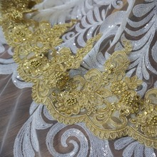2019 NEW embroidery scallop gold lace trimming for dresses 21cm Width women mantilla trim beading color 5 yards!