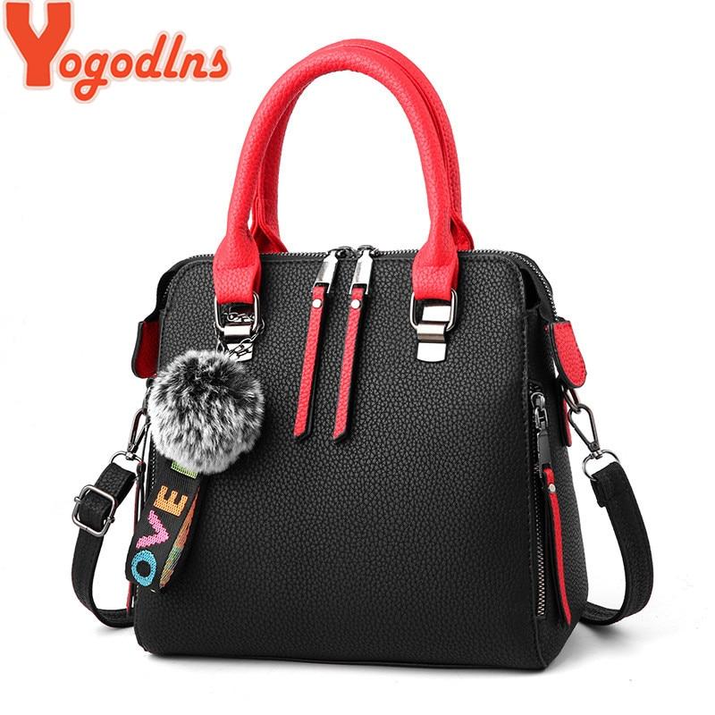 Yogodlns Brand PU Leather Women Messenger Bag Fur Ball Crossbody Flap Bag Female Vintage Shoulder Bag Solid Color Handbags