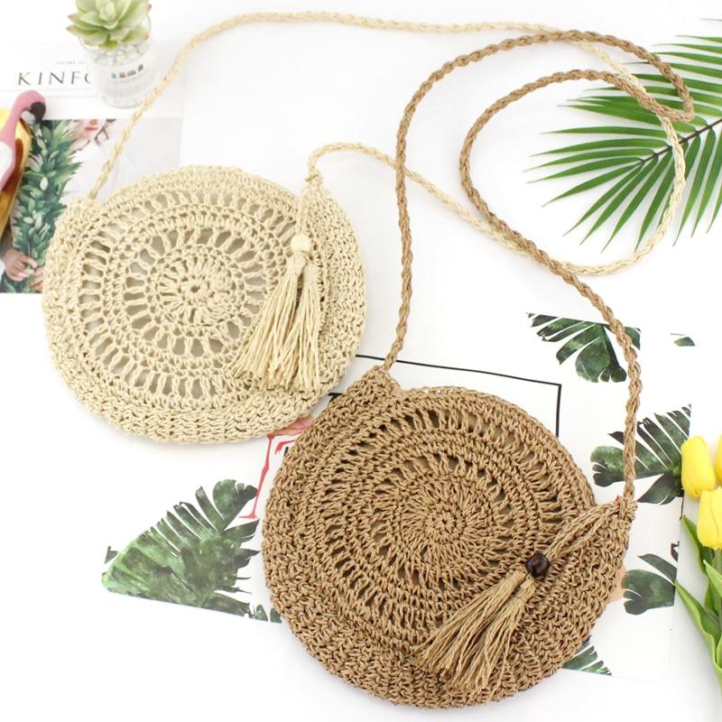 Rattan Woven Round Women Straw Bag Handbag Knit Summer Beach Bag Woman Shoulder Messenger Bag Tassel Khaki Beige Bags