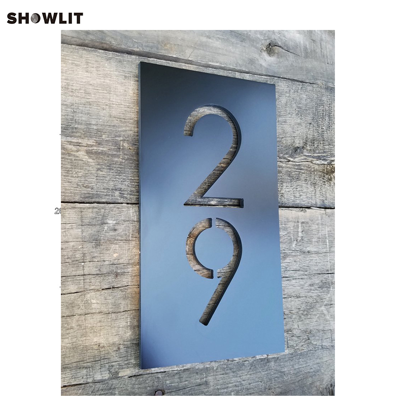 POWER COATED BLACK METAL HOUSE NUMBERS VERTICAL MODERN ADDRESS PLAQUE