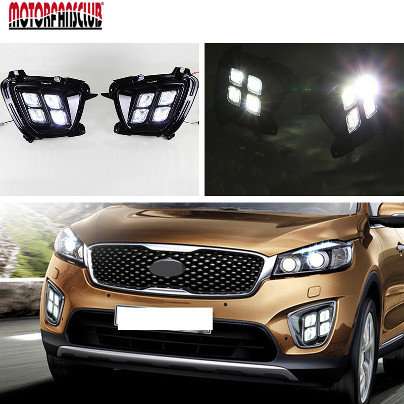 Car Daytime Running Lamp Light For KIA Sorento 2015 2016 Headlight With Black Cover Protector 6000K 12V Auto LED DRL Fog Light car rear trunk security shield cargo cover for kia sorento 2015 2016 2017 high qualit black beige auto accessories