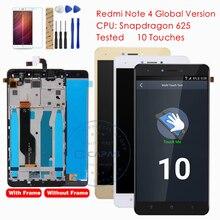 Testado para xiaomi redmi nota 4 versão global display lcd digitador da tela de toque montagem do quadro para redmi nota 4 peças globais