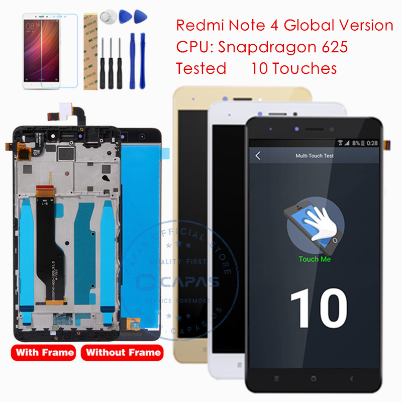 US $19 99 10% OFF|Tested for Xiaomi Redmi Note 4 Global Version LCD Display  Digitizer Touch Screen Frame Assembly Redmi Note 4 Global Parts-in Mobile