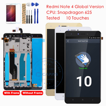Testowane dla Xiaomi Redmi Note 4 wersja globalna wyświetlacz LCD Digitizer ekran dotykowy montaż ramy dla Redmi Note 4 globalne części