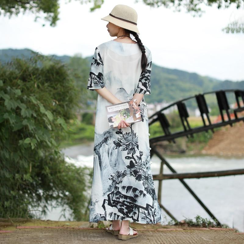 LZJN แบบดั้งเดิมหมึกจีนล้างภาพวาดยาวฤดูร้อน 2019 ผู้หญิงชุด Maxi แขนสั้น Qipao Cheongsam Vintage Robe-ใน ชุดเดรส จาก เสื้อผ้าสตรี บน   3