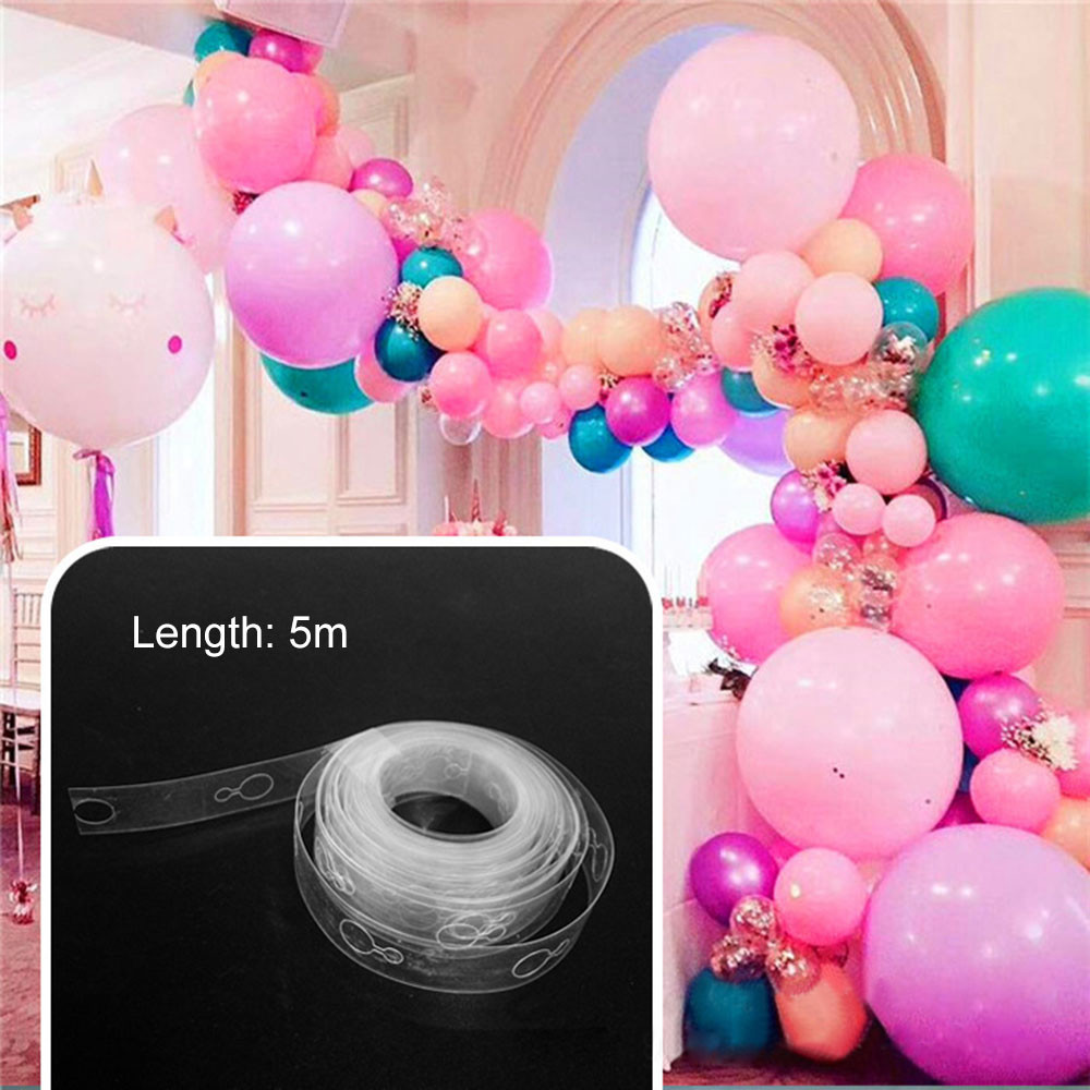 5m Plastic Transparent Balloon Chain Tape Arch Connect Strip for Wedding Birthday Party Decor New Arrival Dropshipping men beaded bracelet red