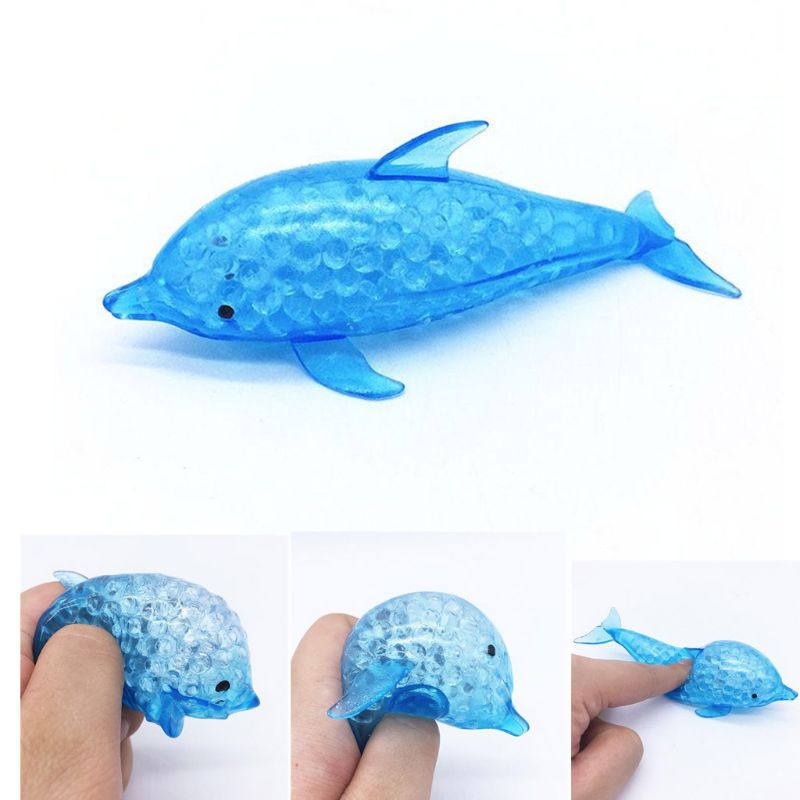 New Squishy Mesh Ball Cute Dolphin Anti Stress Reliever Grape Ball Squeeze Vent Toy