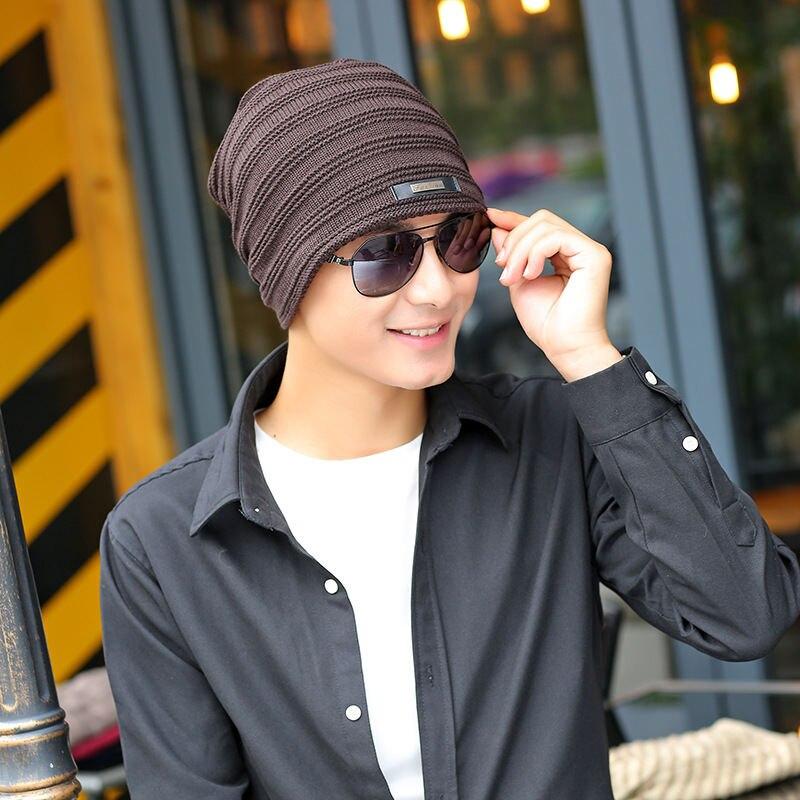 hombres de terciopelo sección casquillo frío sombrero coreano sombrero tarjeta El lana tejer a de los de más invierno rayas caliente hierro qPCwZ