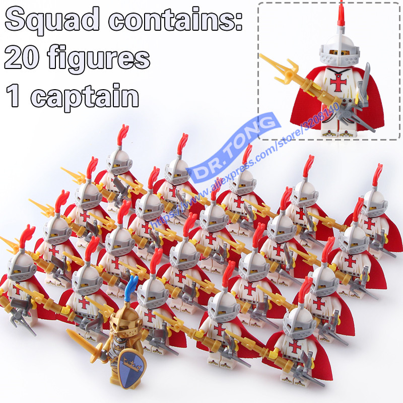 DR.TONG 21PCS/LOT Medieval Knights Crusader Rome Commander Super Hero Building Blocks Toys Children Gifts dr tong single sale the lord of the rings medieval castle knights rome knights skeleton horses building bricks blocks toys gifts