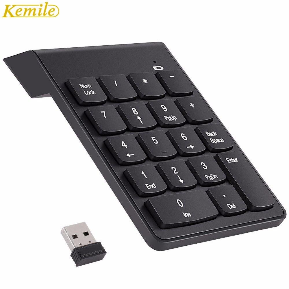 """""""Kemile 2.4G"""" belaidis USB skaitmeninis klaviatūra """"Mini Numpad"""" 18 raktų skaitmeninė klaviatūra iMac / MacBook Air / Pro nešiojamojo kompiuterio nešiojamojo kompiuterio darbalaukiui"""