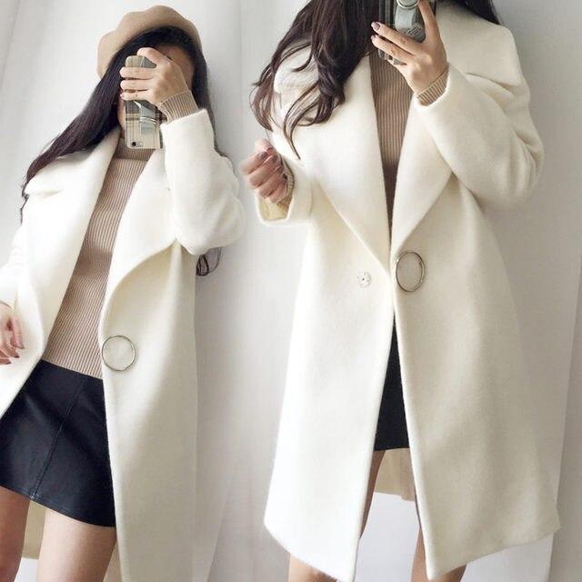 2018 White Wool Blend Coat Women Lapel Long Parka Winter Jacket Cocoon Style Elegant Woolen Coat Thicken Female Outerwear C3745 2