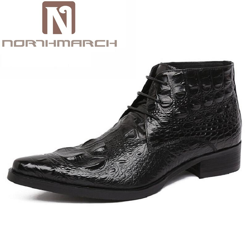 NORTHMARCH Brand Man High-Top Pointed Toe Male Ankle Boots Luxury Genuine Leather Crocodile Designer Men's Cowboy Martin Shoes new arrival man luxury brand cowboy western shoes male designer genuine leather round toe men s cowboy martin ankle boots ke62 page 3