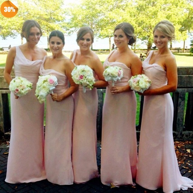Pink One Shoulder Bridesmaid Dress Navy Blue Peach Ivory Champagne Red
