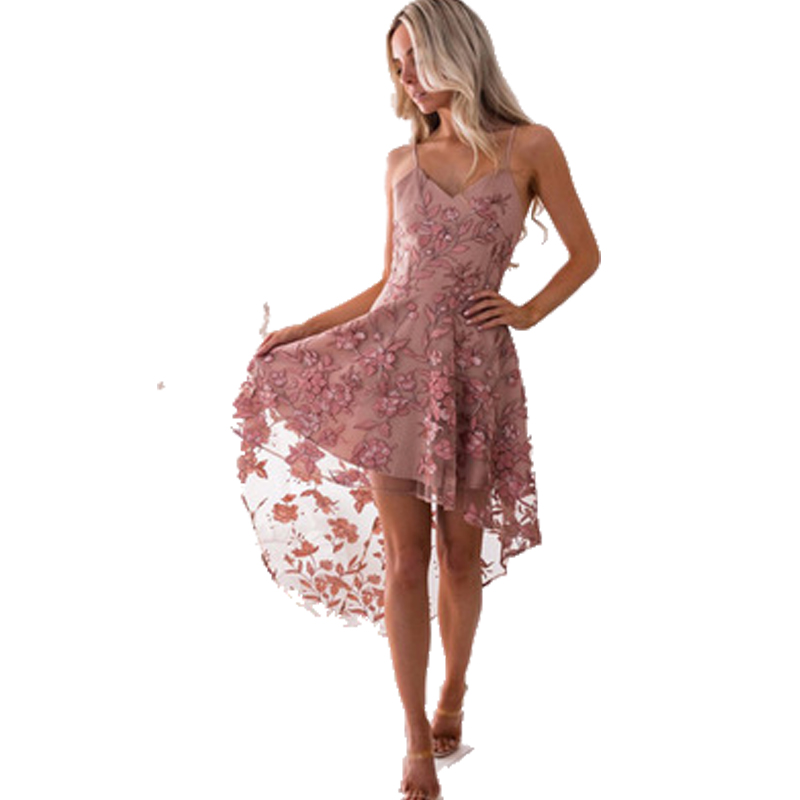 MUHAO Sexy suspenders irregular lace stitching dress bandage dress V neck Middle waist sleeveless 2019 New Style Dress in Dresses from Women 39 s Clothing