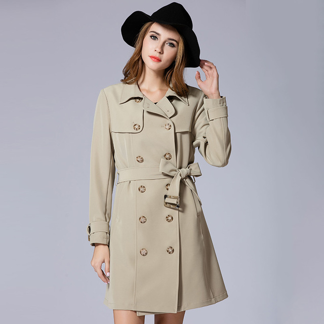 2017 autumn women long trench coat plus size XL-5XL elegant women long coat big size women's spring overcoat
