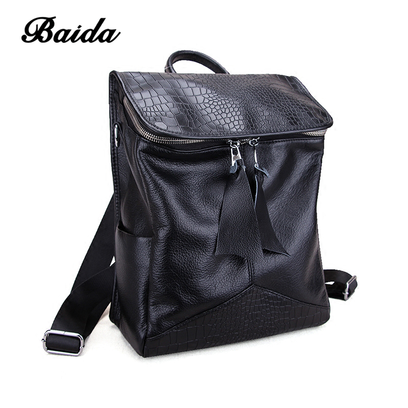 цены  New Vintage Luxury Women Leather Backpack  Bagpack Crocodile Pattern School Bags for Teenagers Rucksack Mochila Feminina