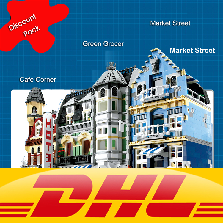 LEPIN 15002 Cafe Corner & 15007 Market Street & 15008 Green Grocers Model Building Blocks sets creator toys for children a toy a dream lepin 15008 2462pcs city street creator green grocer model building kits blocks bricks compatible 10185