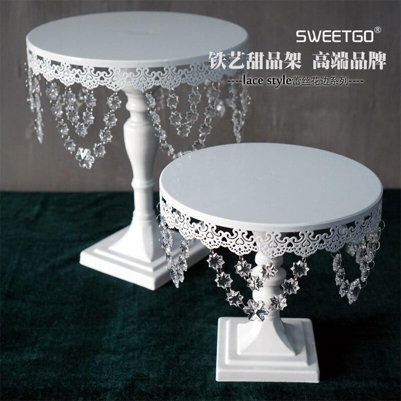 1 pièces mariage décoratif fer perlé gâteau Stand couleur blanche avec 10