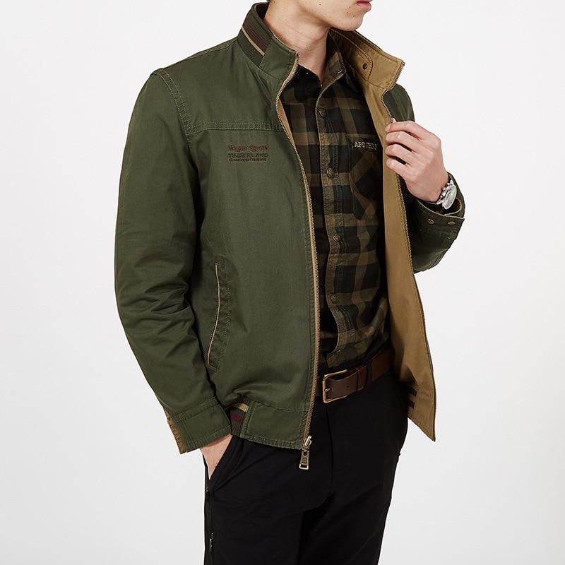 Brand Clothing Jacket Men Autumn Coats Military Jacket Male Double-sided Loose Jaqueta Masculina Pure Cotton Plus Size 7XL 8XL