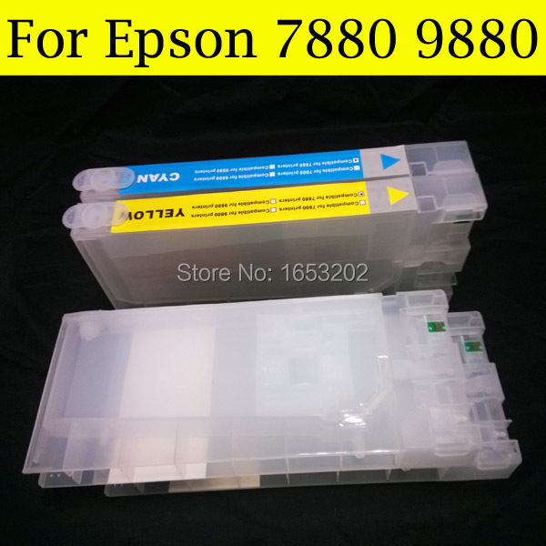 1 PC Chip Resetter+7 Pieces Empty Ink Cartridges For EPSON 9880 7880 Printer Compatible T6041-T6047 T604 604