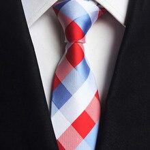 Neck Tie Mens Skinny Ties Red Blue White Colorful Jacquard Slim Narrow Bridegroom Party Dress Plaid & Check Bussiness Necktie
