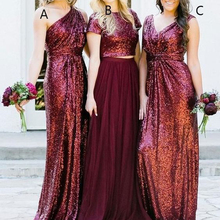 red bridesmaid dresses one shoulder mermaid bling bling sparkly floor length maid of honor dresses wedding party dresses 2019 свадебное платье emmanuel rd438 sparkly bling
